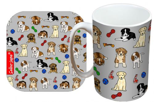 Selina-Jayne Puppies Limited Edition Designer Mug and Coaster Gift Set